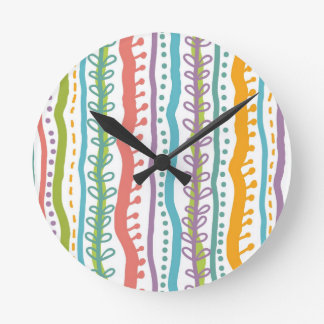 Abstract Stripes Vertical Pattern Round Clock