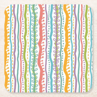 Abstract Stripes Vertical Pattern Square Paper Coaster