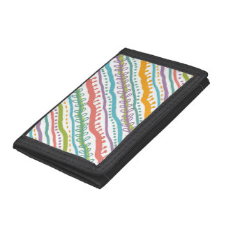 Abstract Stripes Vertical Pattern Tri-fold Wallets