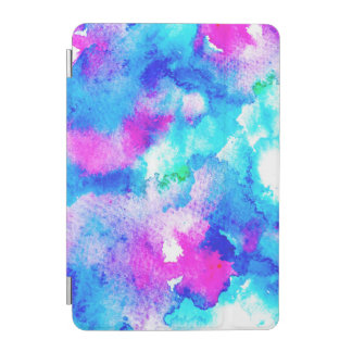 Abstract summer blue aqua pink watercolor paint iPad mini cover