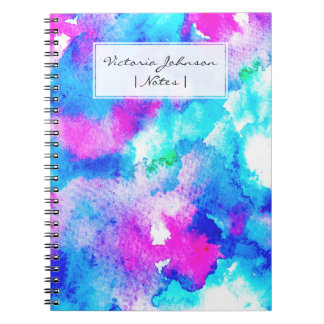 Abstract summer blue aqua pink watercolor paint notebook