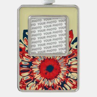 Abstract SUN FLOWER - red blue + your backgr. Silver Plated Framed Ornament