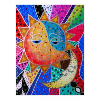 Abstract Sun & Moon by Prisarts Postcard