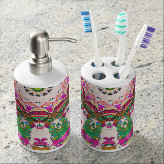 Abstract Sun Rays Mosaic Soap Dispenser And Toothbrush Holder