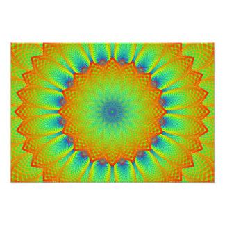 Abstract Sunflower Fractal Pixel Green Art Photo