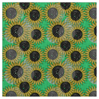 Abstract sunflowers summer mood fabric