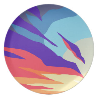 Abstract Sunset Melamine Plate