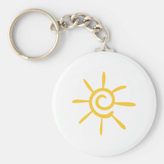 Abstract Sunshine Basic Round Button Key Ring