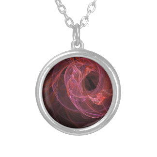 Abstract swirl design round pendant necklace