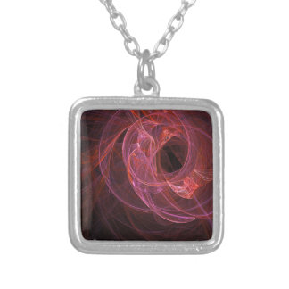 Abstract swirl design square pendant necklace