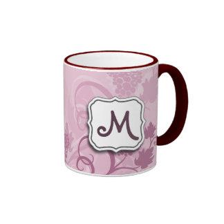 Abstract Swirl Floral Lavender Grapes and Monogram Ringer Mug
