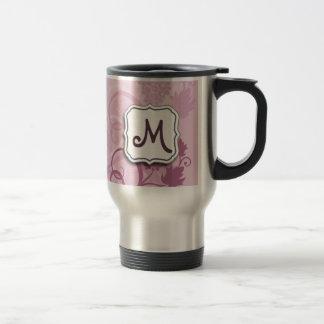 Abstract Swirl Floral Lavender Grapes and Monogram Travel Mug