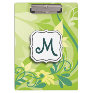 Abstract Swirl Floral Lime Green with Monogram Clipboard