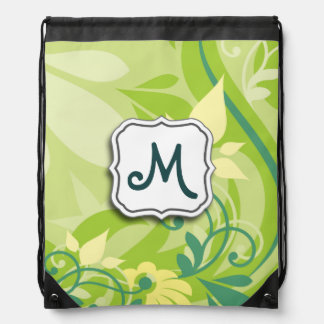 Abstract Swirl Floral Lime Green with Monogram Drawstring Bag