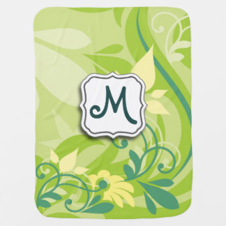 Abstract Swirl Floral Lime Green with Monogram Swaddle Blankets
