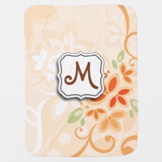 Abstract Swirl Floral Orange with Monogram Swaddle Blankets