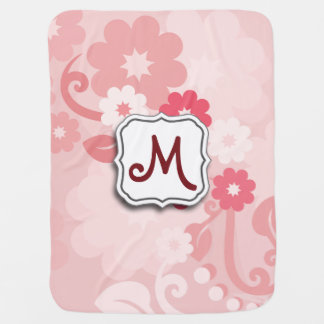 Abstract Swirl Floral Pink with Monogram Receiving Blanket