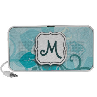 Abstract Swirl Floral Turquoise with Monogram iPod Speaker