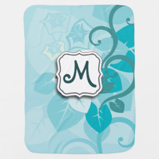 Abstract Swirl Floral Turquoise with Monogram Receiving Blankets