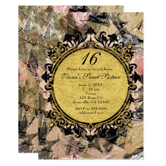 Abstract Swirl Pink Black & Gold Party Invitations