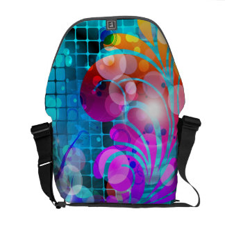 Abstract Swirl Scroll Grid Vector Graphic Messenger Bags