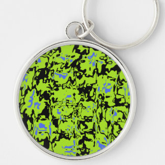 Abstract Swirl Silver-Colored Round Key Ring