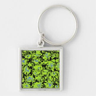 Abstract Swirl Silver-Colored Square Key Ring