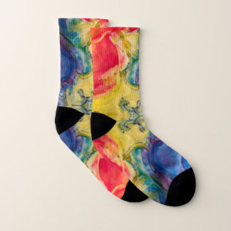 Abstract Swirled Rainbow of Colors Ice Dyed Look Socks