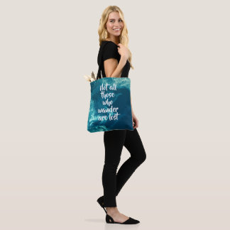 Abstract Swirls Blue Satellite Aerial Photo Quote Tote Bag