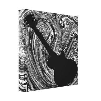 Abstract Swirls Guitar Canvas Print, Black & White Canvas Print