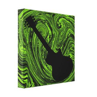 Abstract Swirls Guitar Canvas Print, Green Canvas Print
