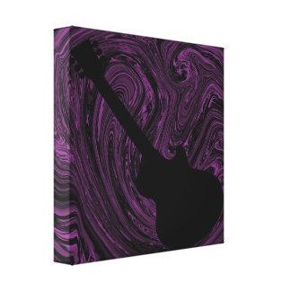 Abstract Swirls Guitar Canvas Print, Purple Canvas Print