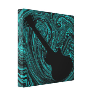 Abstract Swirls Guitar Canvas Print, Teal