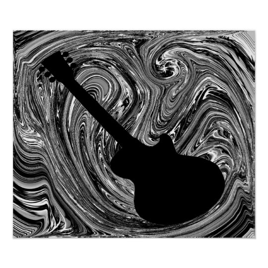 Abstract Swirls Guitar Poster, Black and White Poster