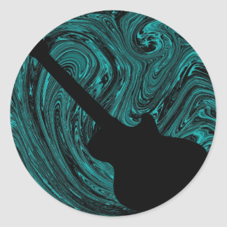 Abstract Swirls Guitar Stickers, Teal Classic Round Sticker