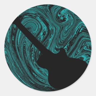 Abstract Swirls Guitar Stickers, Teal Round Sticker