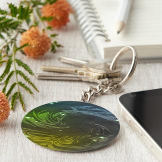 Abstract Swirls Basic Round Button Key Ring