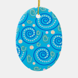 Abstract Swirls on Blue Christmas Ornament