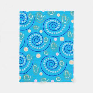 Abstract Swirls on Blue Fleece Blanket
