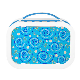 Abstract Swirls on Blue Lunch Box