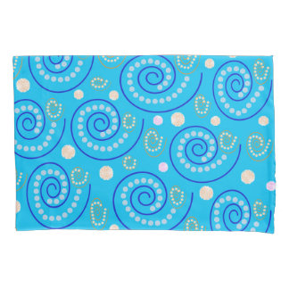 Abstract Swirls on Blue Pillowcase