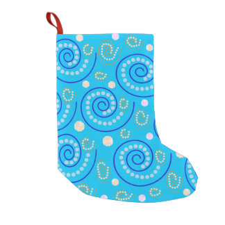 Abstract Swirls on Blue Small Christmas Stocking