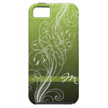 Abstract Swirls on bright green with Monogram