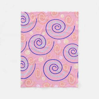 Abstract Swirls on Pink Fleece Blanket