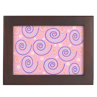 Abstract Swirls on Pink Keepsake Box