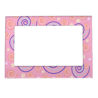 Abstract Swirls on Pink Magnetic Picture Frame