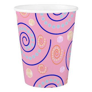 Abstract Swirls on Pink Paper Cup