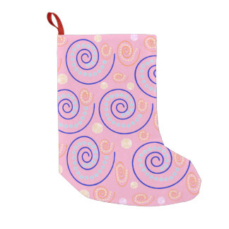 Abstract Swirls on Pink Small Christmas Stocking