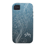 Abstract Swirls on teal with Monogram Case-Mate iPhone 4 Case
