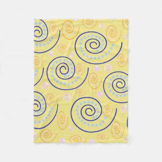 Abstract Swirls on Yellow Fleece Blanket
